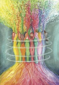Colourful women in a circle with energy flowing from them