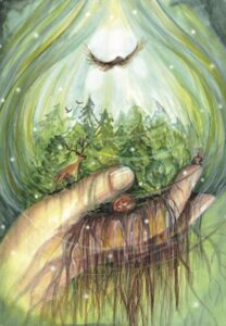 Care for the Earth principle - hand holding ferns and a bird